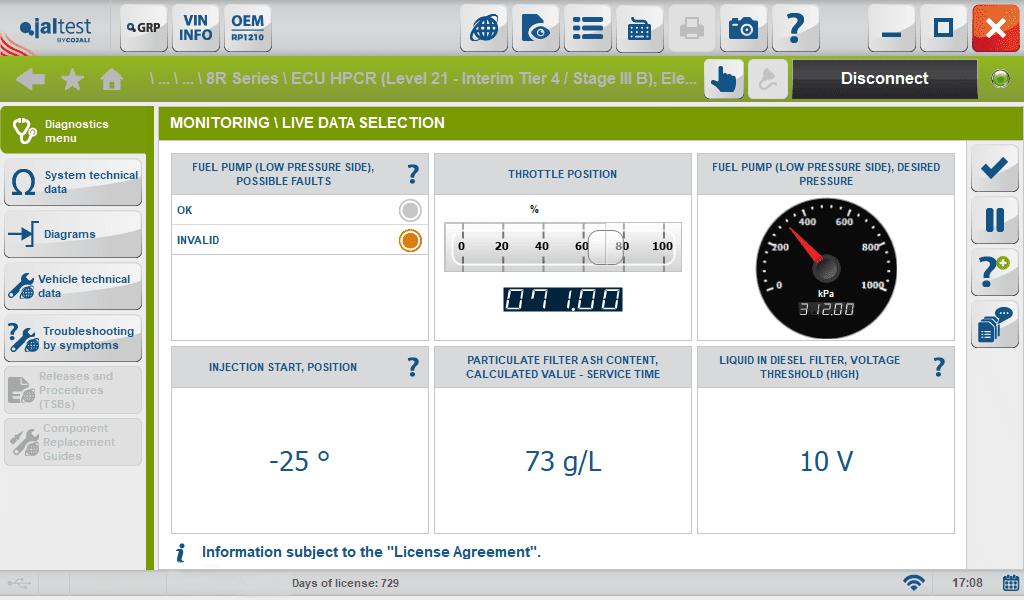 jaltest system display