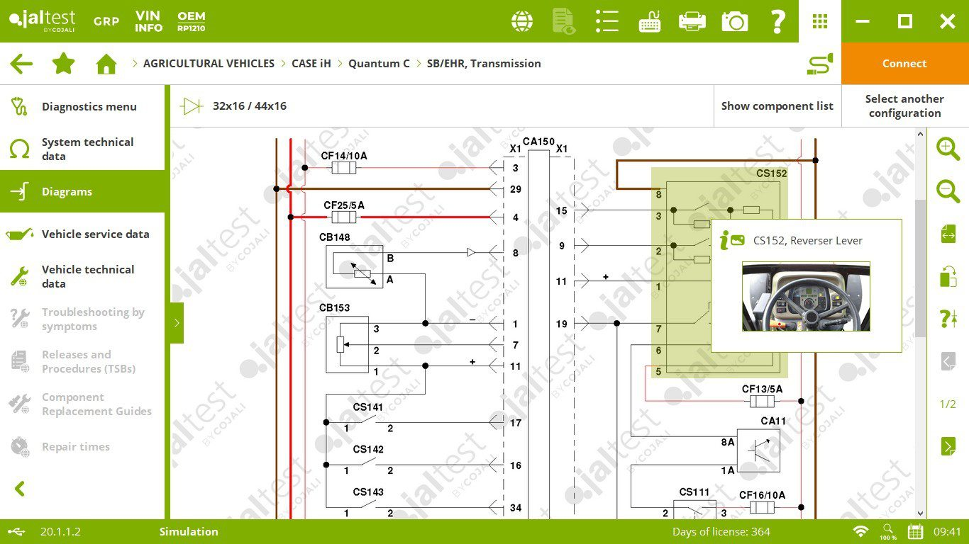 screen capture of agricultural software diagnosis